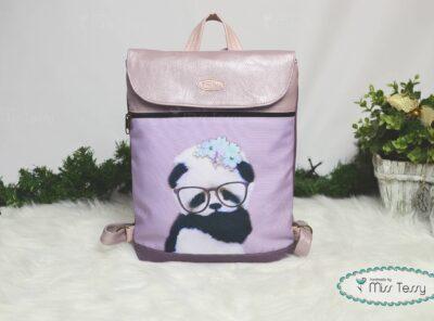 Tessy gyerek Hátizsák- lila panda maci