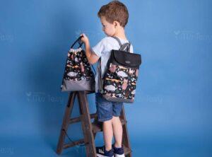 Miss Tessy gyerek Hátizsák- fekete ÁLLATOS- tornazsák - ceruzatartó szett (2)