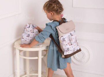 kislány textilbőr hátizsák tornazsákkal