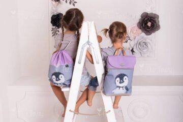 Miss Tessy gyerek hátizsák, ovis- pingvin- tornazsákkal (1)