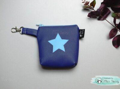 Cumitartó kistáska - csillagos textilbőr - kék