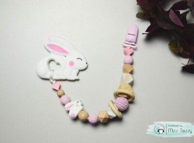 Rágcsalánc - fehér-rózsaszín kis nyuszi